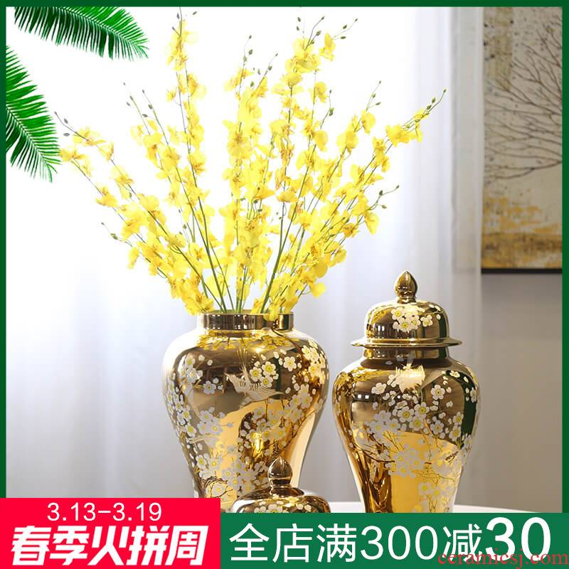 General new Chinese jingdezhen ceramic vase mesa gilded decoration can decorate the furnishing articles piggy bank candy as cans