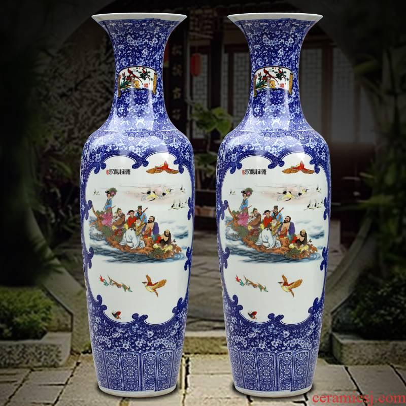 Jingdezhen ceramics powder enamel ensemble of large vase home sitting room hotel Chinese large - sized furnishing articles