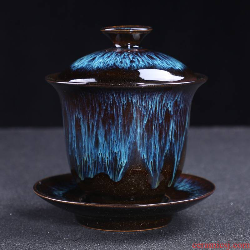 Leopard lam tureen ceramic cups large single three to make tea bowl to build light pa alluvial gold blue glaze kung fu tea set