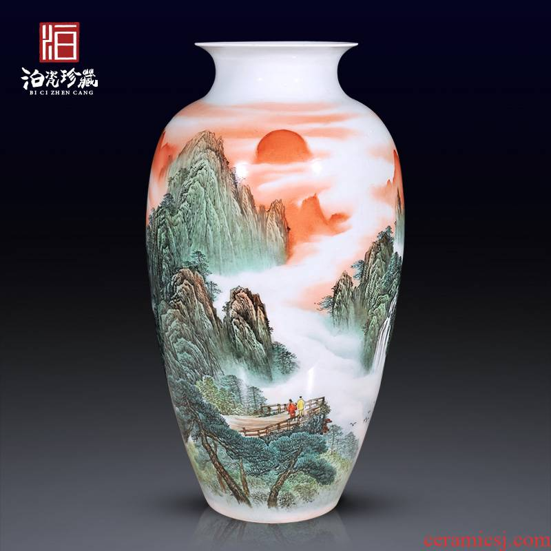 Jingdezhen ceramics by hand draw pastel large dried flowers Chinese vase modern living room decoration collection furnishing articles