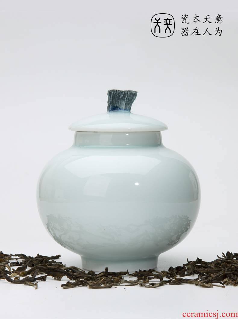 """Water music"" days yi jingdezhen ceramic tea pot seal pot travel small portable carry moisture storage tanks"