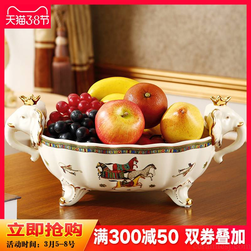 American creative key-2 luxury household ceramic bowl move bowls of Europe type restoring ancient ways decorative fruit bowl sitting room tea table furnishing articles