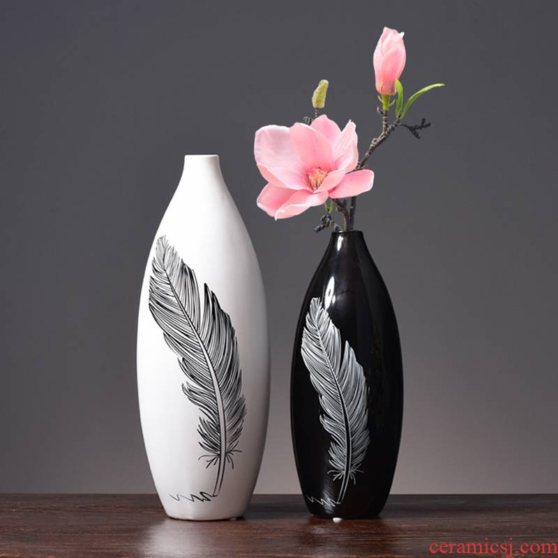 I and contracted ceramic vase furnishing articles home living room TV cabinet mesa dried flower flower vase decoration decoration