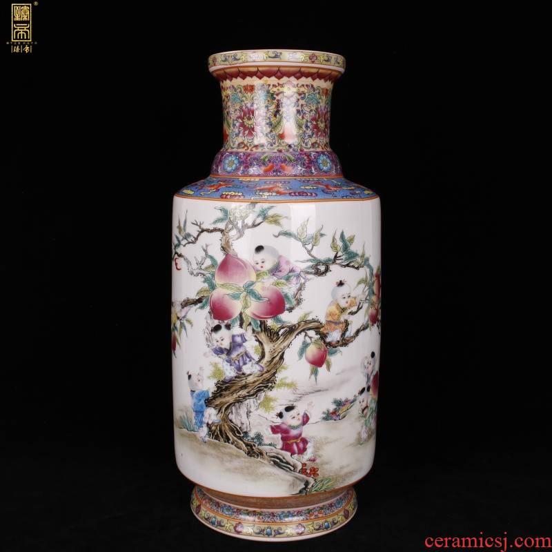 Jingdezhen imitation enamel qianlong years antique vase pastel nine son climb peach wooden stick Chinese antique porcelain bottle furnishing articles