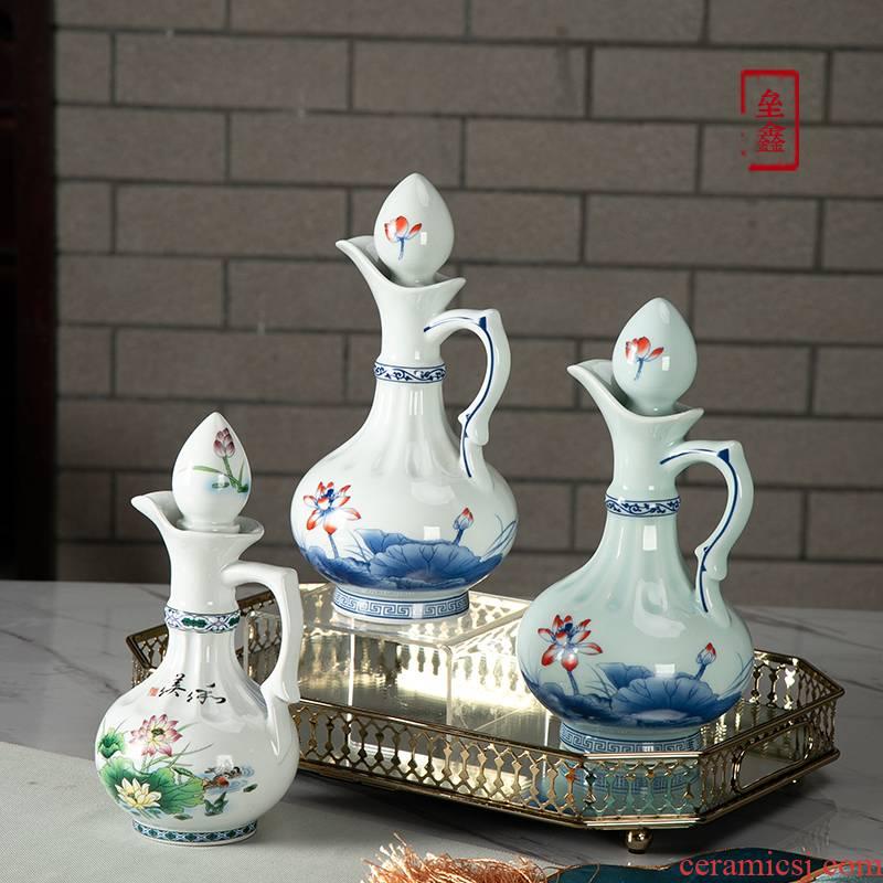 Hip flask jingdezhen ceramics single pot home half jins/1 catty installed antique Chinese liquor drinking wine utensils