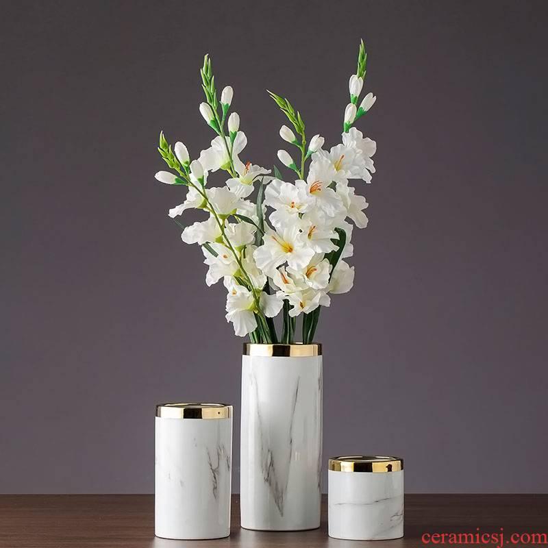 Imitation marble gold - plated flower modern flower arrangement furnishing articles home decoration ceramic dry flower flower floral arrangements