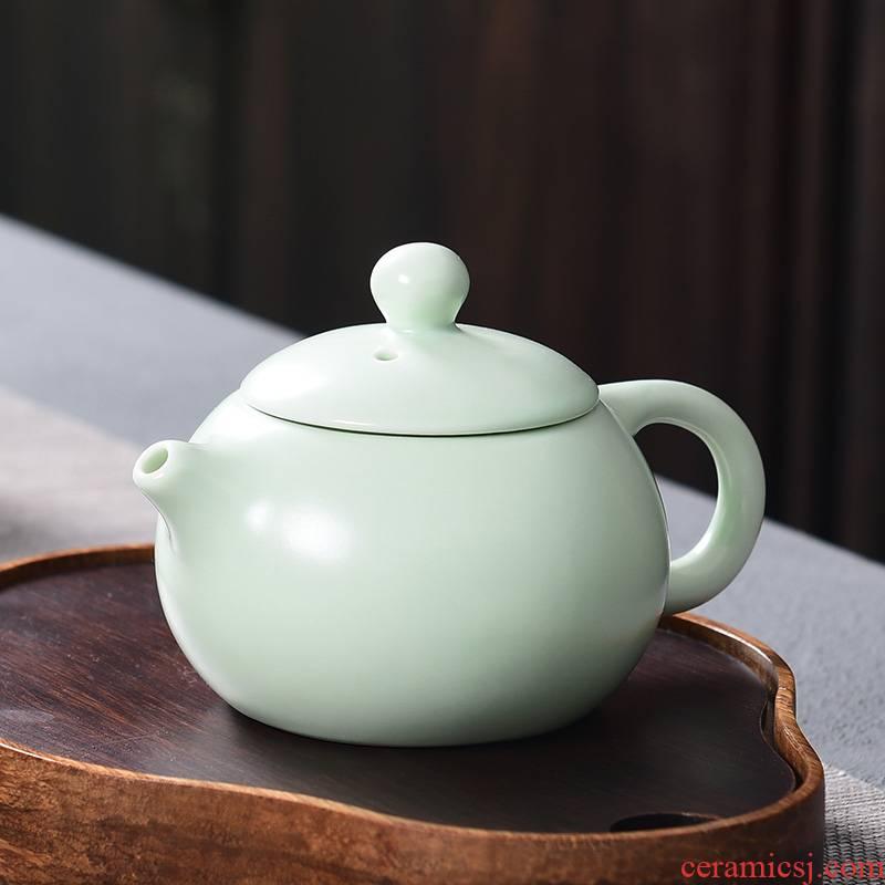 A good laugh up matte enrolled green household ceramic teapot kung fu tea set single pot of xi shi pot hand grasp the teapot with A zero