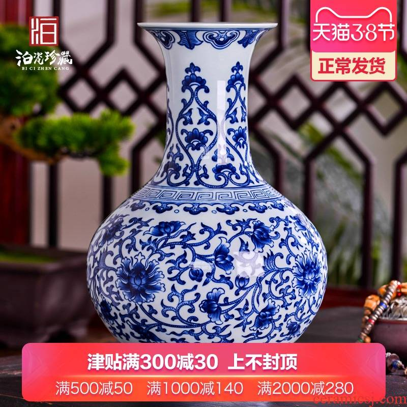 Antique hand - made of blue and white porcelain in jingdezhen ceramics dried flowers large vases, furnishing articles sitting room of the new Chinese style household decorations