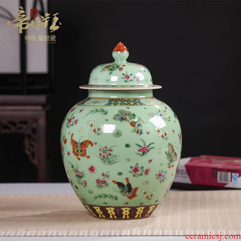 Jingdezhen ceramics the qing yongzheng antique hand - made pea green glaze butterfly tattoo furnishing articles cover pot antique antique collection