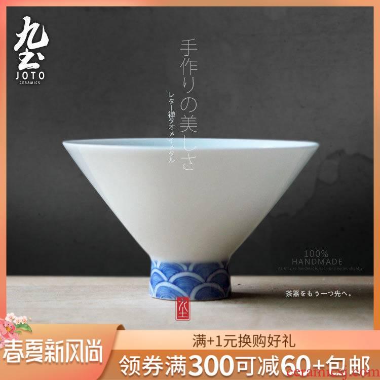 About Nine soil huai blue hat to the cup sample tea cup kung fu noggin Japanese tea taking accessories jingdezhen tea cups
