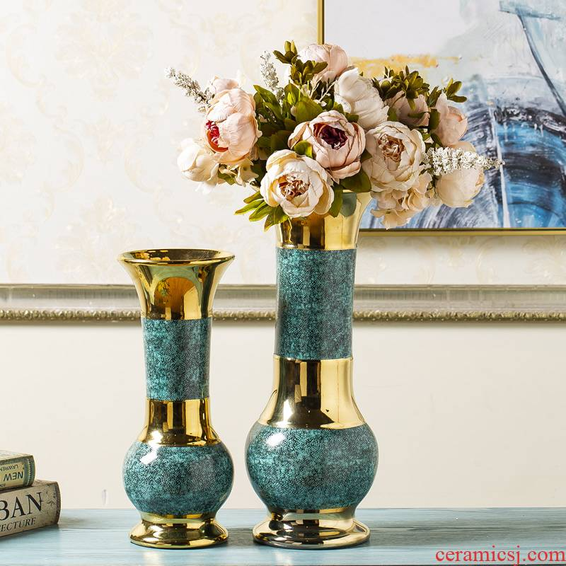 Jingdezhen ceramic vase light key-2 luxury furnishing articles of new Chinese style living room dried flowers flower arrangement of large diameter Nordic table decorations