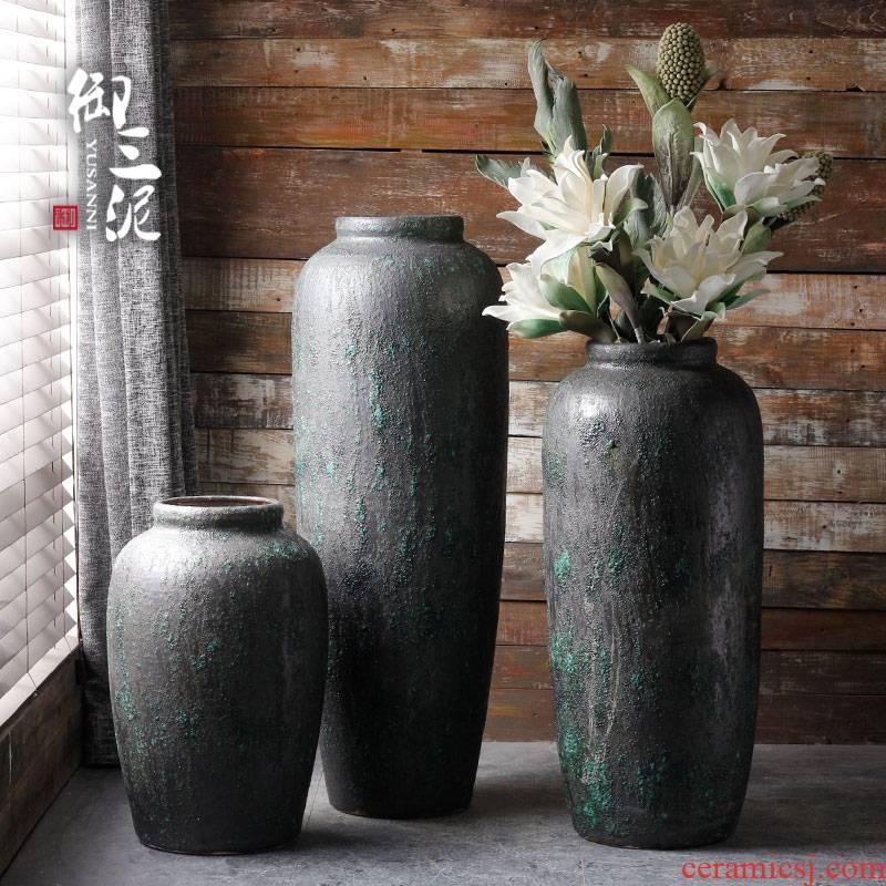Modern manual ground ceramic vase coarse pottery basin of flower arranging flower implement simple dry flower simulation flower adornment restoring ancient ways