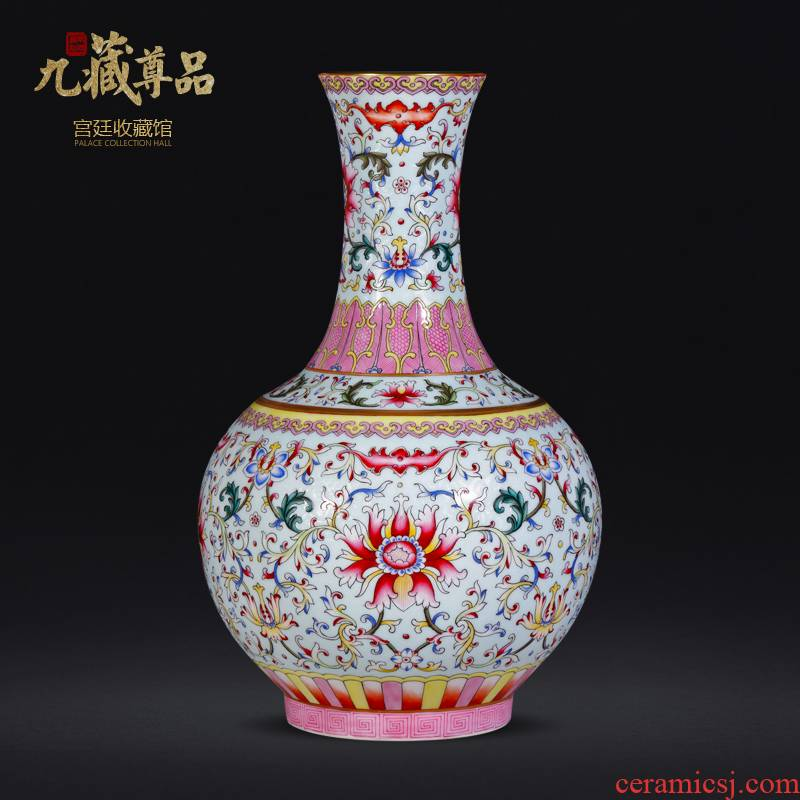 Jingdezhen ceramic antique the qing qianlong to hand pick a flower blue bottle of sitting room home decoration collection vases, furnishing articles