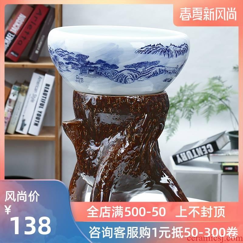 Jingdezhen ceramic aquarium large ceramic column goldfish bowl the tortoise GangPen sleep bowl lotus refers to basin of lotus cylinder