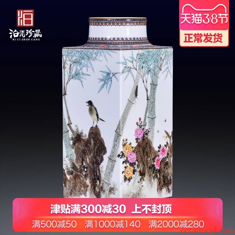 Jingdezhen ceramics hand - made pastel sifang dress and home decoration collection of new Chinese style antique vase