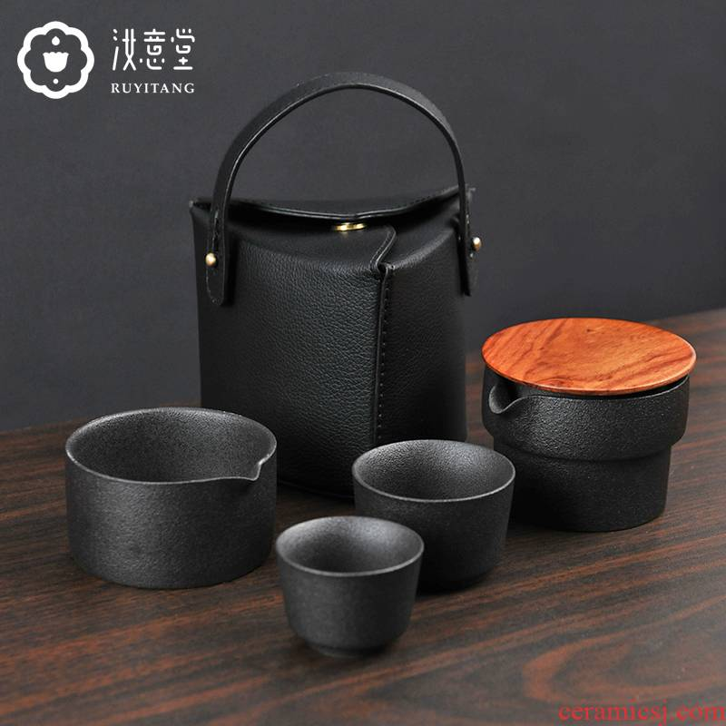Ceramic cup to crack a pot of two cups of black pottery contracted Chinese kung fu tea set office double portable travel