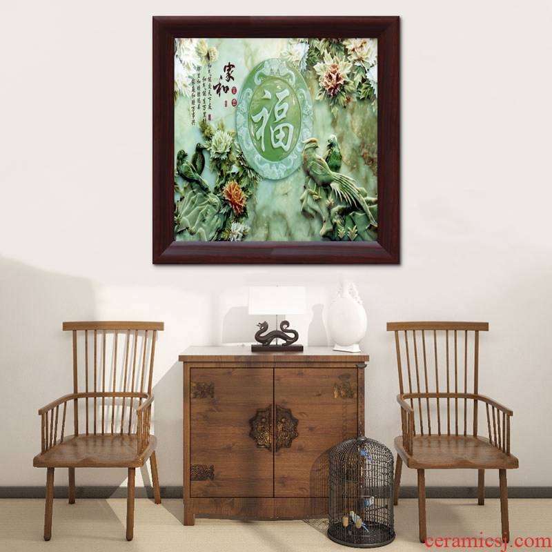 Jingdezhen square screen famille rose porcelain plate painting I sitting room sofa setting wall mural decoration hangs a picture teahouse restaurants
