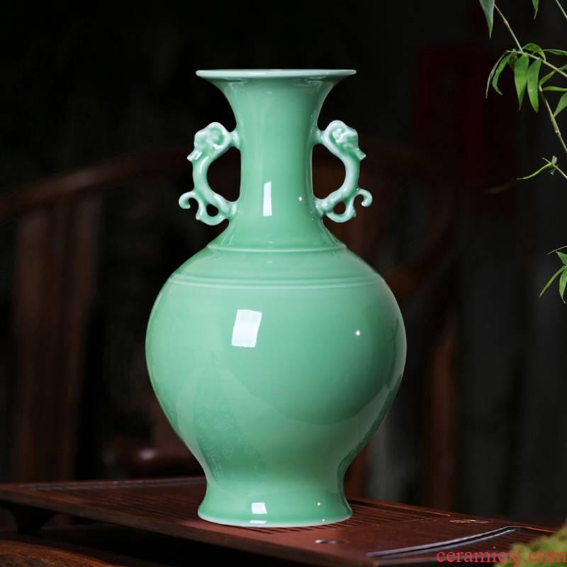 Jingdezhen ceramic green glaze antique vase floral outraged living room flower arranging modern classical household rich ancient frame furnishing articles