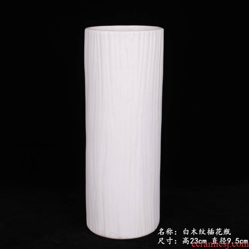Jingdezhen white wood grain white porcelain flower hydroponics transshipment is lucky bamboo bamboo dried flowers sitting room desktop cabinet vase