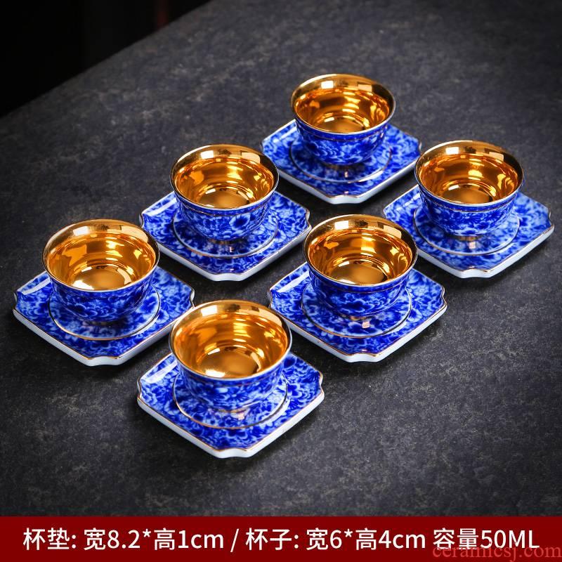Blue and white porcelain ceramic cups size personal master ji Blue glaze cup sample tea cup high dehua white kung fu single CPU