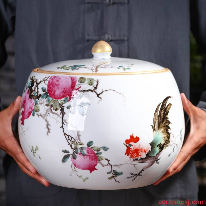 Jingdezhen ceramic seal manual caddy fixings tea cake box pu 'er tea, green tea to wake tea storage POTS tea urn