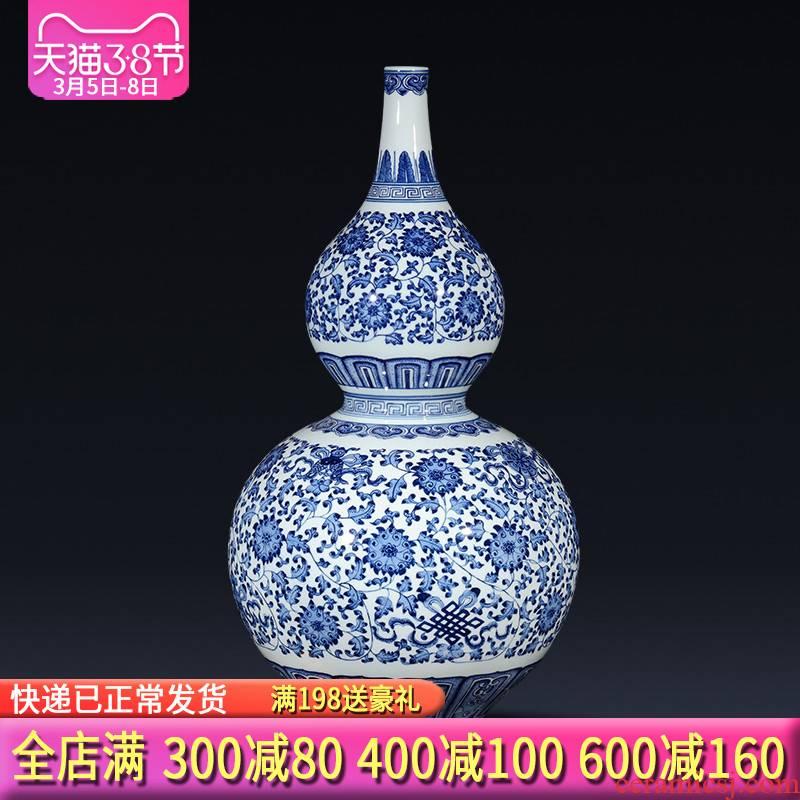 Jingdezhen ceramics hand - made gourd of blue and white porcelain vases, flower arrangement of Chinese style living room TV ark, feng shui furnishing articles
