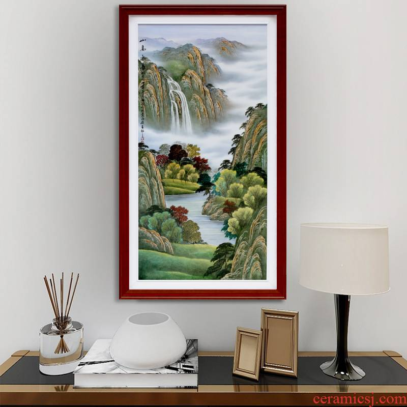 Jingdezhen hand - made ceramic plate painting landscape setting wall adornment restaurant mural sitting room porch corridor shu hang a picture