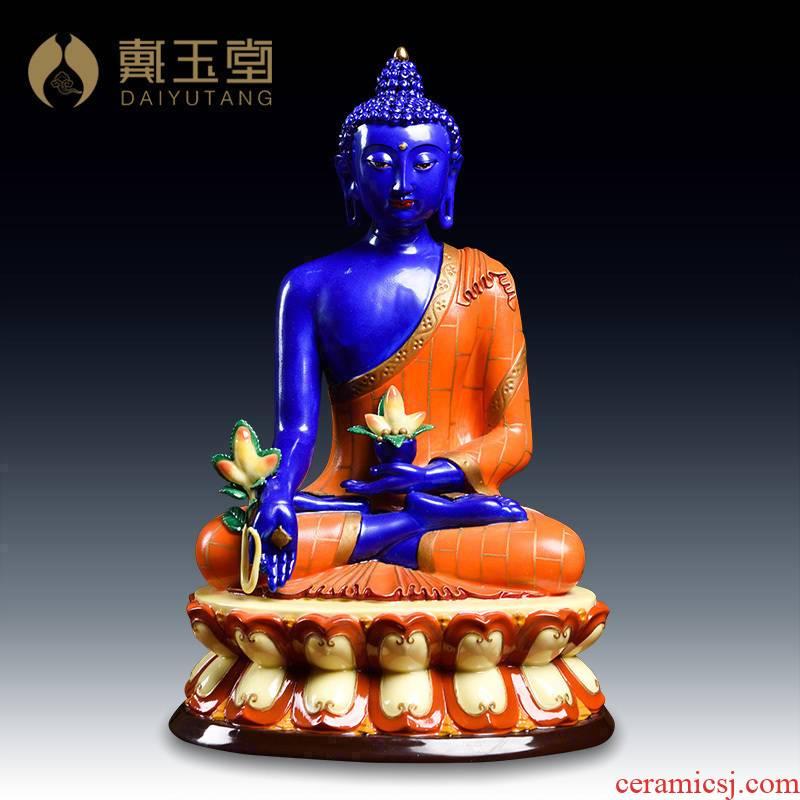 Yutang dai ceramic Buddha worship Buddha furnishing articles of sect medicine lapis lazuli light coloured drawing or pattern of medicine the guru Buddha/D44-34 c