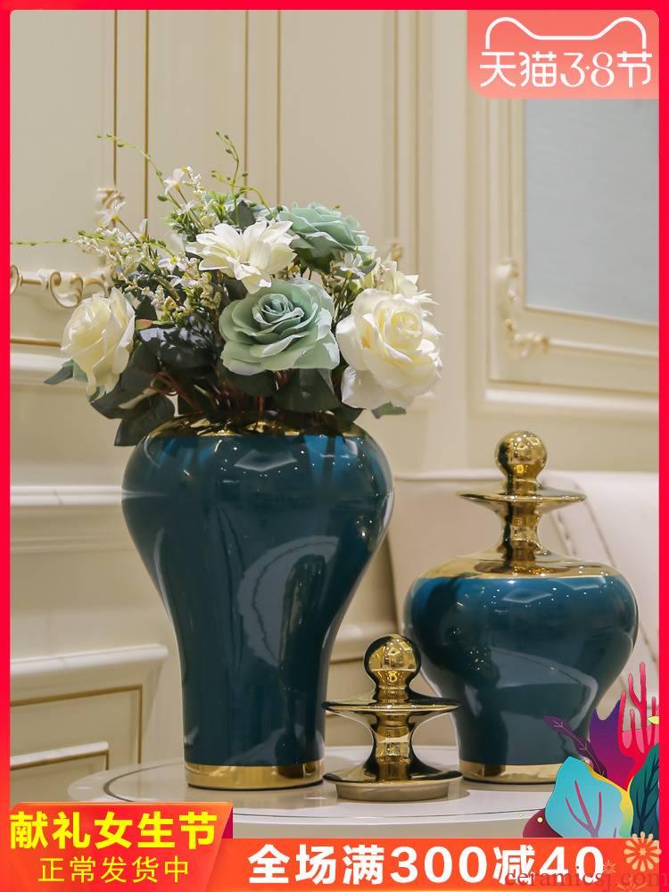 Jingdezhen light general key-2 luxury wind modern creative ceramic pot vase simulation model TV ark is placed between the flower decoration