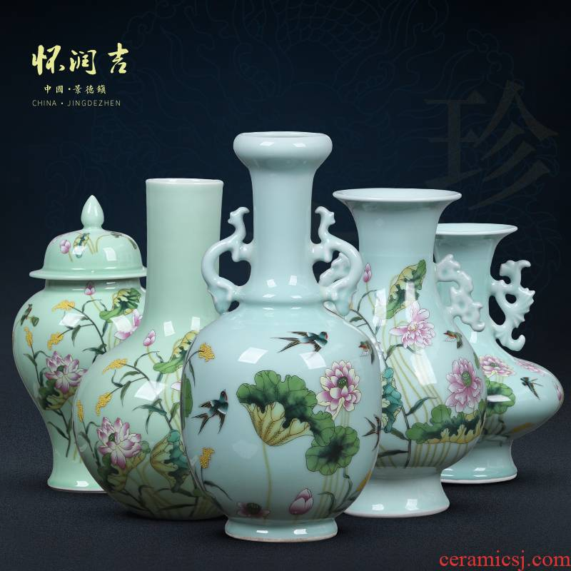 Jingdezhen ceramic vase manual shadow blue glaze color bucket load rhyme bottle vases, flower decoration crafts are sitting room