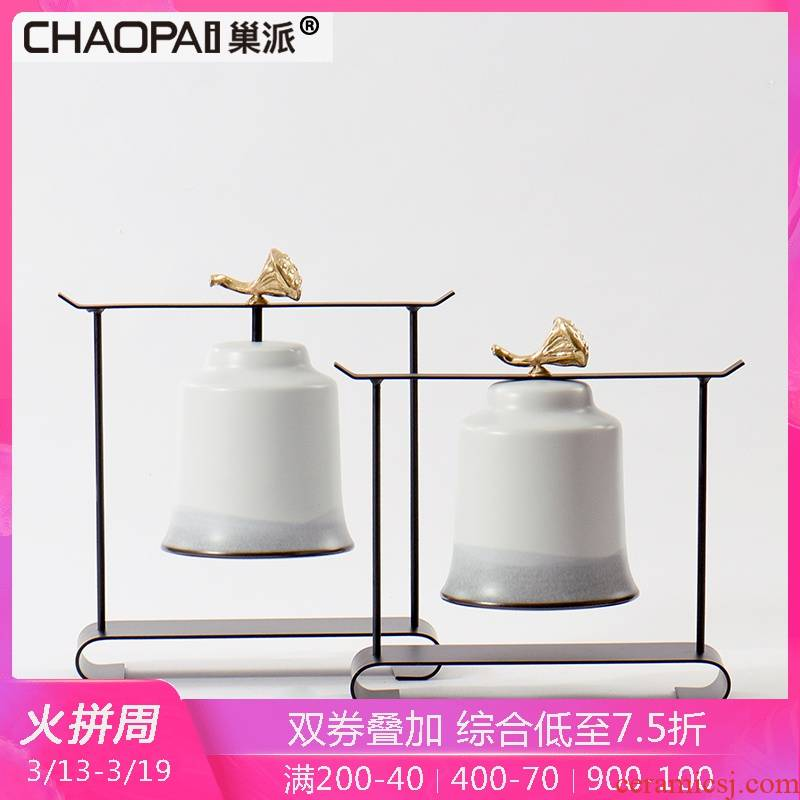 New Chinese style bell shape ceramic office furnishing articles study ancient frame plating, wrought iron decoration, home decoration