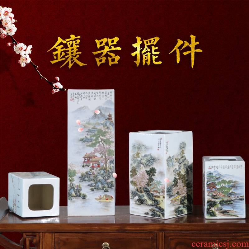 Porcelain of jingdezhen ceramics vase furnishing articles to mean square of the big bottle of new Chinese style household adornment flower arranging living room