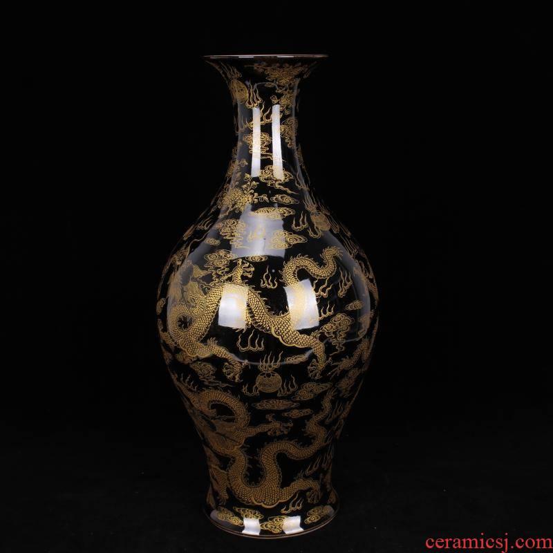 Jingdezhen imitation kangxi sharply blue glaze glaze offering YunLongWen vase sitting room of Chinese style household study collection furnishing articles