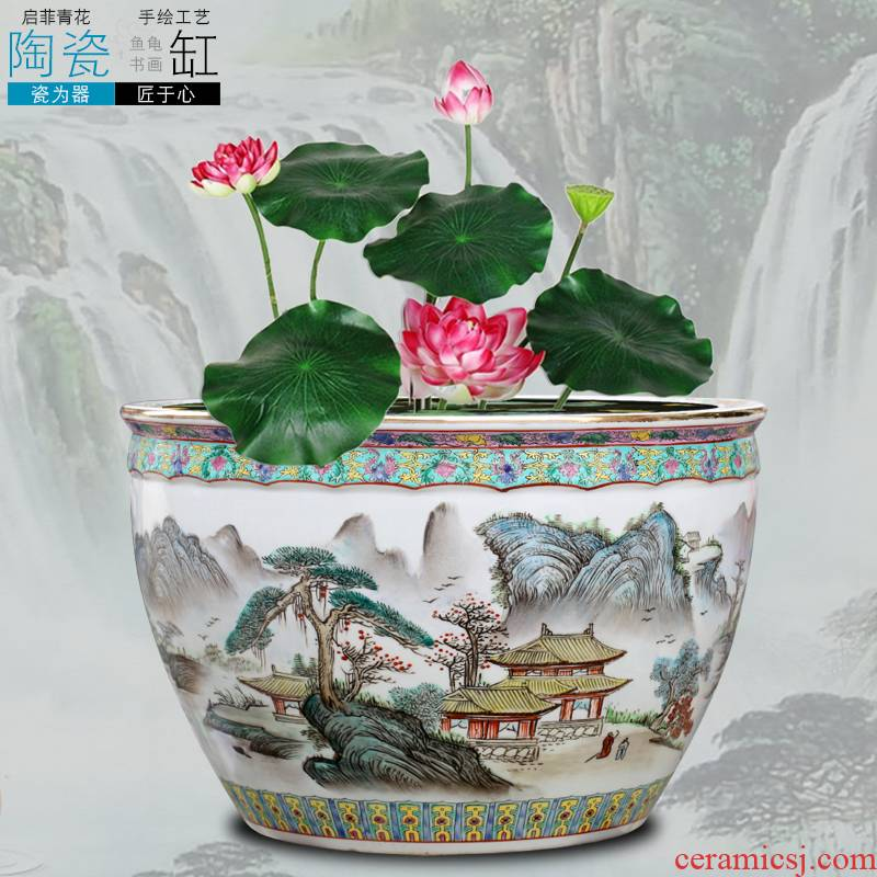 Jingdezhen ceramic aquarium hand - made landscape painting large landing place courtyard sitting room adornment calligraphy and painting is received