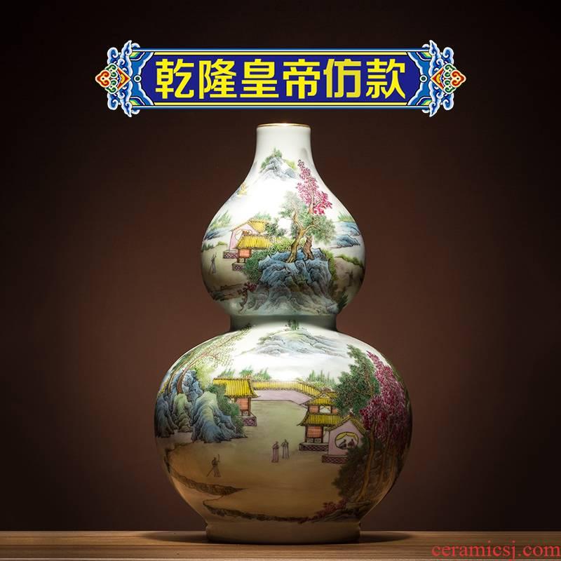 Ning hand - made antique vase seal up with jingdezhen ceramic bottle furnishing articles landscape gourd bottle of new Chinese style antique porcelain