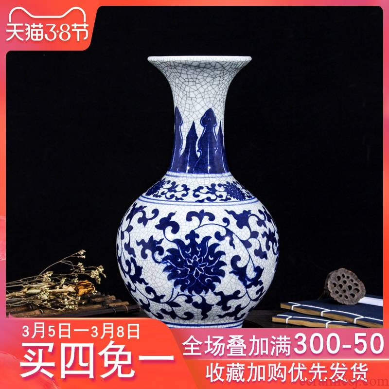 Crack in jingdezhen ceramics glaze antique blue and white porcelain vase decoration home act the role ofing mesa of the sitting room of Chinese style restoring ancient ways furnishing articles
