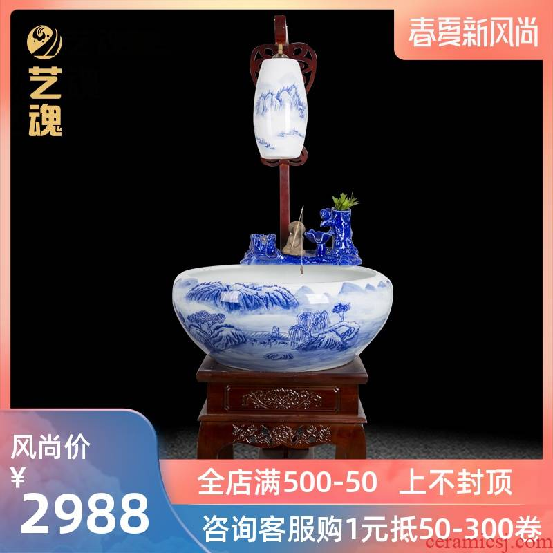 The New Chinese jingdezhen ceramic aquarium landscape water tank large filter tank floor home aquarium