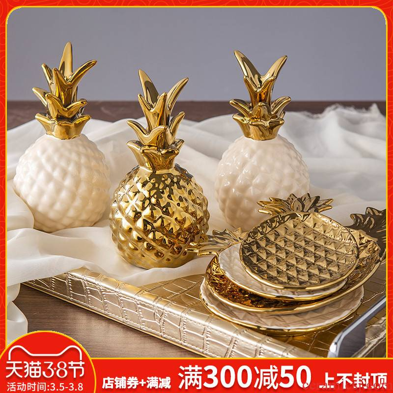 Boreal Europe style creative ceramic pineapple furnishing articles, I and contracted household table sitting room adornment bedroom room