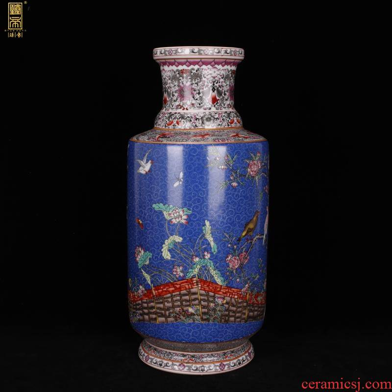 Jingdezhen imitation enamel qianlong years antique vase in pastel blue birds and flowers were bottles of Chinese antique porcelain furnishing articles