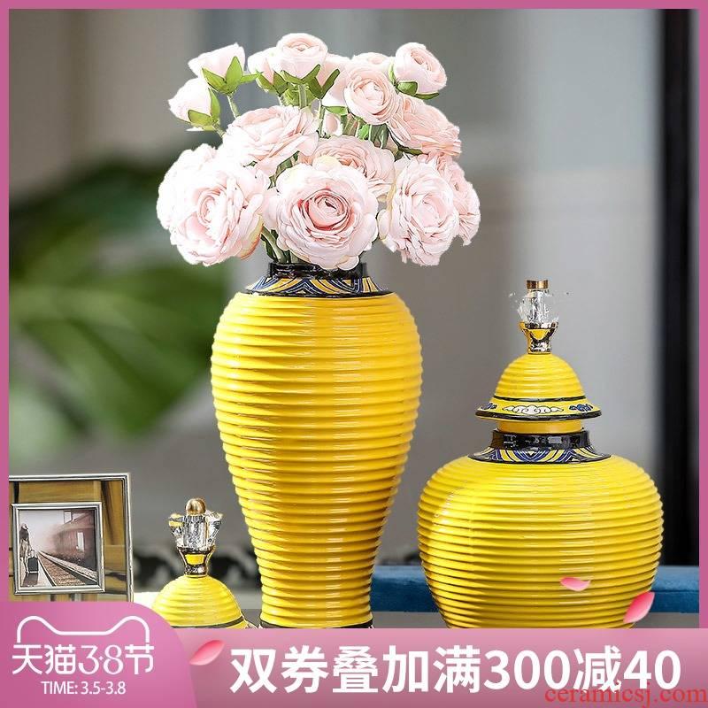 European ceramic vase furnishing articles sitting room flower arrangement of TV ark, wine table soft adornment American retro storage tank