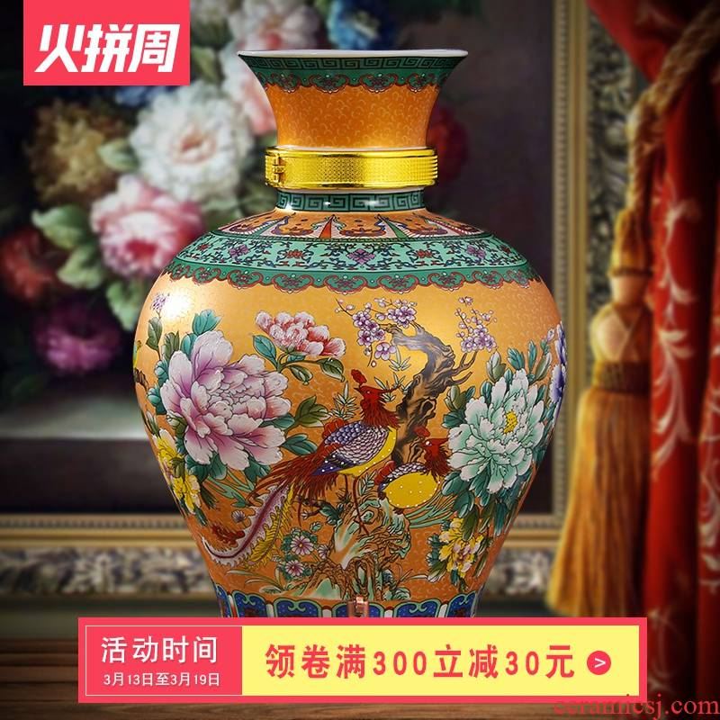 Jingdezhen ceramic 10 jins 20 jins 30 jins domestic wine jars it mercifully wine jar mercifully bottle with tap