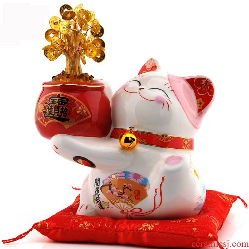 Stone workshop Taiwan plutus cat medium ceramic furnishing articles led cash cow piggy bank open a shop opening gifts