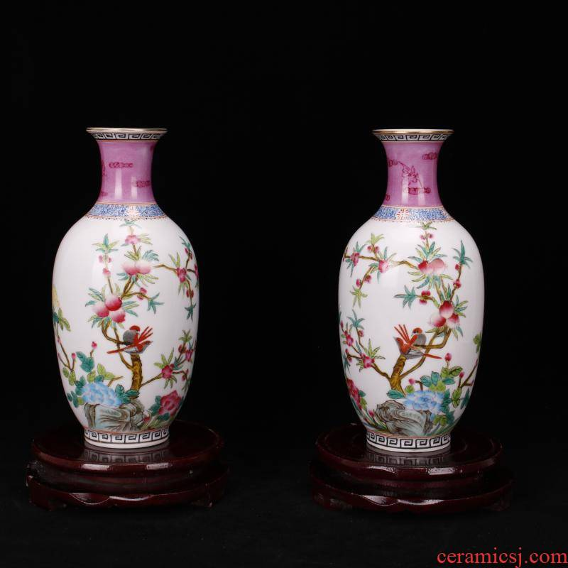Jingdezhen imitation antique yongzheng com.lowagie.text.paragraph antique purely manual throwing hand draw pastel trace of gold floret bottle manually furnishing articles