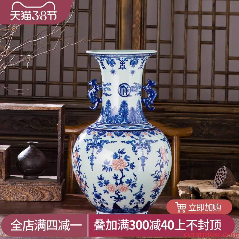 Manual hand - made imitation qianlong vase antique Chinese blue and white porcelain is jingdezhen ceramics home sitting room adornment is placed