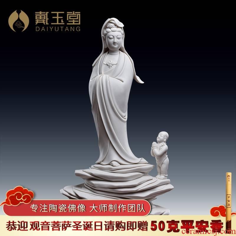 Yutang dai dehua ceramic art crafts of Buddha furnishing articles jian - pin Lin boy worship goddess of mercy corps/D26-32 a