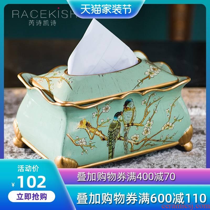 American classic ceramic decorative paper tissue box European sitting room tea table smoke box of furnishing articles creative household smoke box