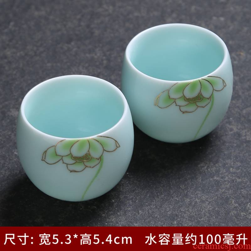 Celadon single cup tea tea cups red cup suit small bowl glass ceramic cups kung fu tea set