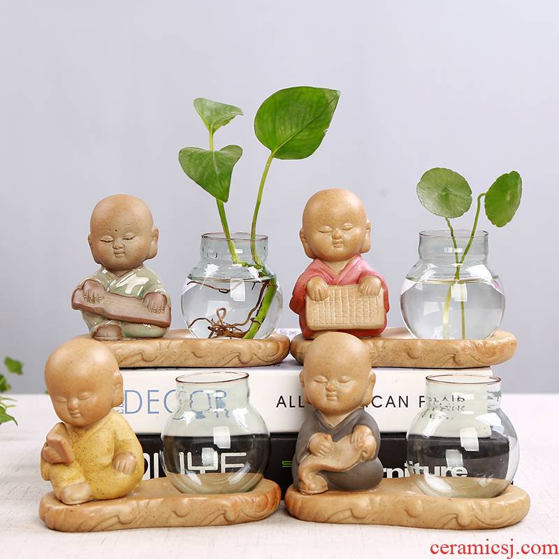 Hydroponic other transparent glass vase penny raised grass water flowerpot indoor tank round POTS much meat ceramic flower pot