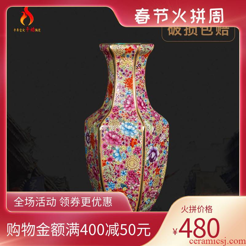 Chinese classical jingdezhen chinaware paint mesa vase archaize qianlong sitting room adornment is placed hexagonal bottles