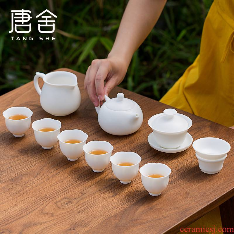 Tang s suet jade beauty tea pot lid bowl suit dehua white porcelain six people kung fu tea set ceramic household